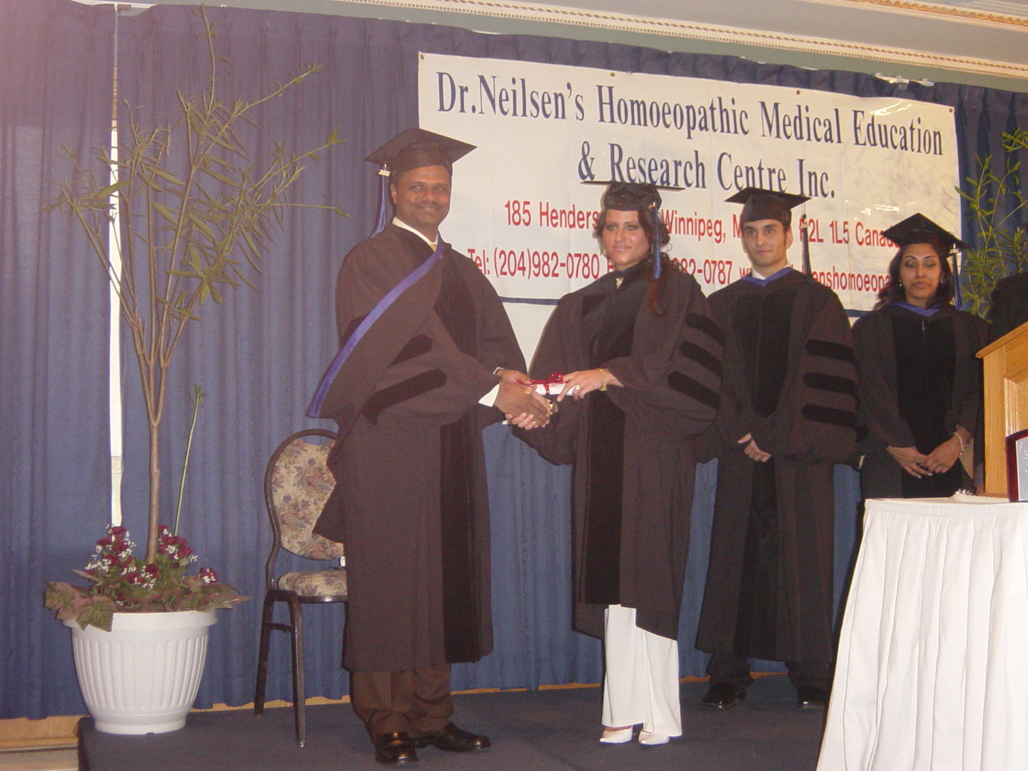 Dr.Neilsen's Homeopathic Medical Education and Research Center graduation distributing certificate, Winnipeg Canada, 2005